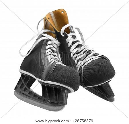 black leather ice skates isolated on white