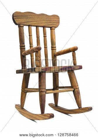 old wooden rocking chair on white background