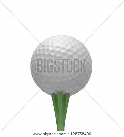 Golf ball on tee, isolated on white