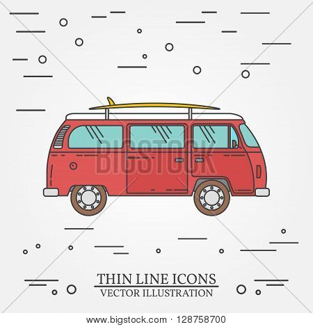 Travel Bus Family Camper With Surf Board Thin Line. Traveler Truck Tourist Bus Outline Icon. Rv Trav