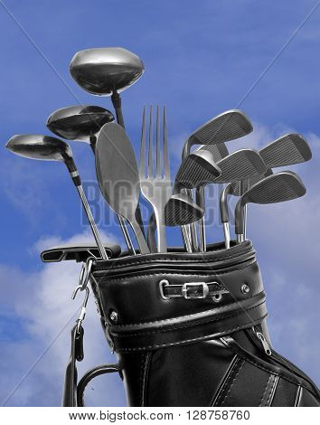 Golf and dinning concept made with golf clubs fork and spoon