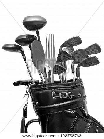 Isolated golf bag with clubs and kitchen utensils
