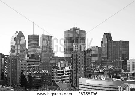 Black and white of downtown Montreal, Canada