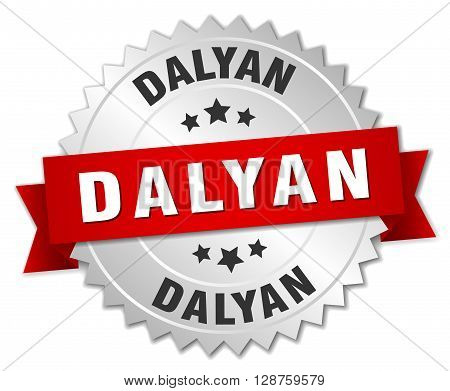 Dalyan round silver badge with red ribbon