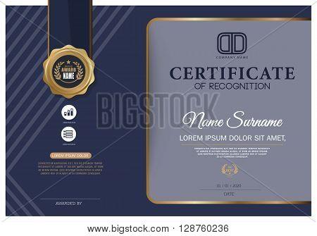 Dark blue Certificate Vector certificate template.Gold Design Template.