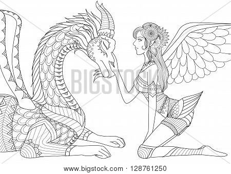 Dragon is at mercy of beautiful angel, line art design for coloring book for both children and adult and other illustrations