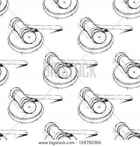 Justice hummer. Judge gavel. Hand drawn vector stock illustration. Seamless background pattern