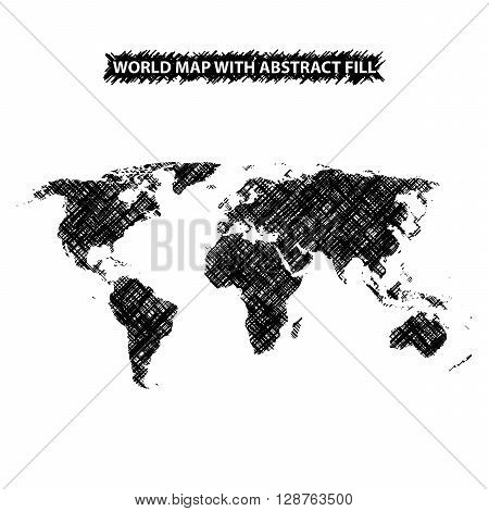 Abstract world map background. World map hatched by lines. White background. Black fill. Vector illustration