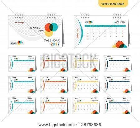 company calendar 2017 with full design (Vector eps10) size 10x7 inch
