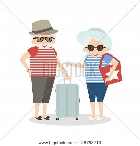 Seniors happy traveling. Grandmother and grandfather on trip. Oldest people with suitcase on trip. Vector illustration.