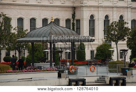 ISTANBUL/TURKEY-OCTOBER 14 : Four Seasons Hotel is a modern luxury hotel at Bosphorus, on October 14, 2014 in Istanbul Turkey.