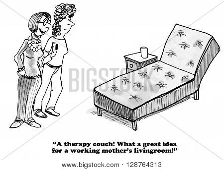 Business cartoon about working mothers who feel guilty for working too many hours.
