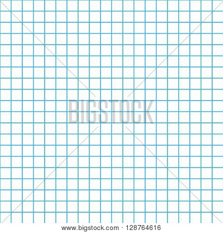 Five millimeters square grid cyan colour on white seamless pattern