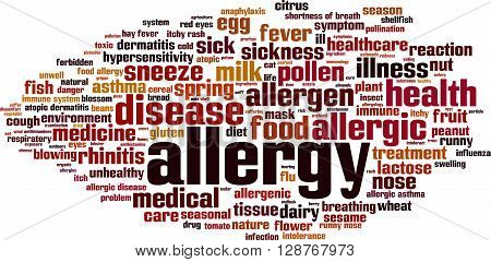 Allergy word cloud concept. Vector illustration on white