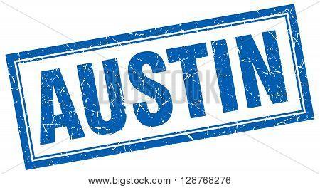 Austin Blue Square Grunge Stamp On White