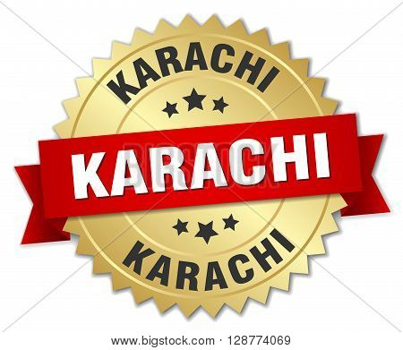Karachi round golden badge with red ribbon