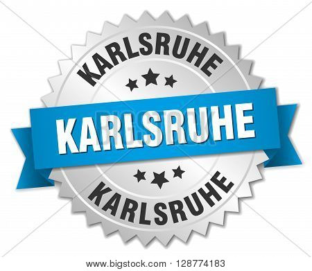 Karlsruhe round silver badge with blue ribbon