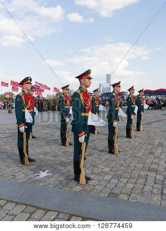 Moscow - May 6 2016: Victory Park on Poklonnaya Hill and 154 soldiers detached commandant regiment of the Transfiguration at the festival May 6 2016 Moscow Russia
