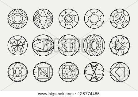 Set of hipster vector geometric shapes. Circular abstract. Shapes made using line, triangles, circles, and other polygons. You can use it for design icons, logos masks and overlaying on photos.