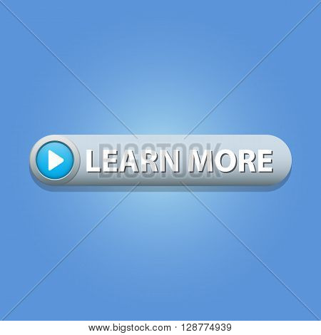 Learn more Button on blue background. Vector illustration.