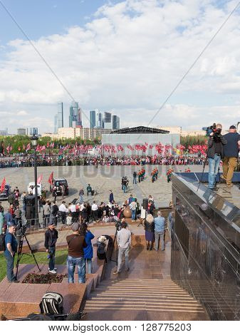 Moscow - May 6 2016: Mezhdunarony social-patriotic Poyekt our Star of the Great Victory in Victory Park on Poklonnaya Hill and the people gathered for the holiday May 6 2016 Moscow Russia