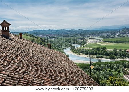 Barbaresco, Italy, Europe - May 3, 2016 : View of the Tanaro river and the hills in the comune of Barbaresco