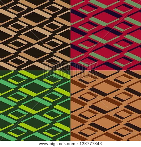 Four homogeneous vector seamless the geometrical patterns