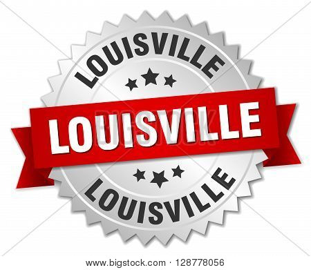 Louisville round silver badge with red ribbon