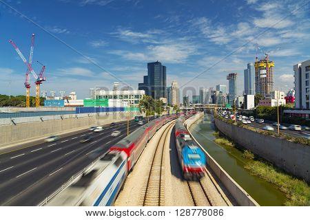 Tel Aviv And Ramat Gan Cityscape - Ayalon Freeway At Day