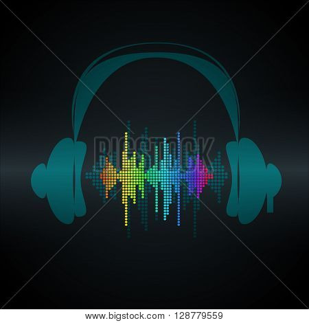 Vector sound wave with headphones. Equalizer Music polygons waveform background. You can use in club, radio, pub, party, concerts, recitals or the audio technology advertising background.