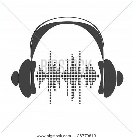 Vector sound wave with headphones. Equalizer Music polygons monochrome waveform background. You can use in club, radio, pub, party, concerts, recitals or the audio technology advertising background.