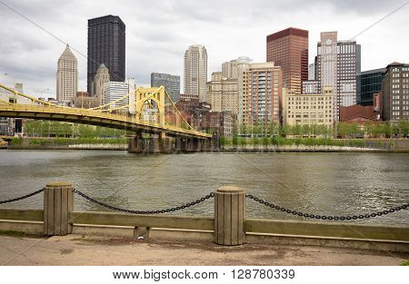 PITTSBURGH - MAY 3:The Allegheny River goes by the amazing city of Pittsburgh on May 3, 2016