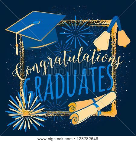 Vector illustration on black background congratulations on graduation 2016 class of, retro color design for the graduation party. Typography for greeting, invitation card