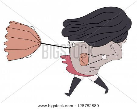 A flat vector cartoon illustration of a brunette girl with long hair wearing high boots and raincoat holding the umbrella turned inside out  blown by window