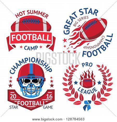 Set of american football labels with american football ball, burning ball, scull in helmet, laurel. Vector illustration