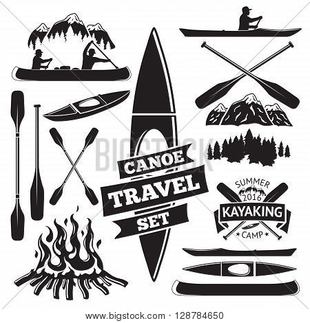 Set of canoe and kayak design elements. Two man in a canoe boat, man in a kayak, boats and oars, mountains, campfire, forest, label. Vector illustration