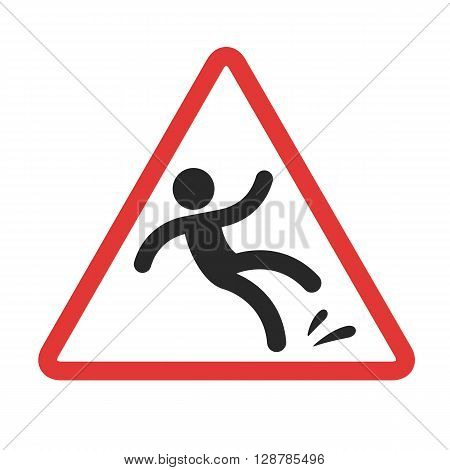 Warning sign caution wet floor. Falling man in red triangle vector symbol.