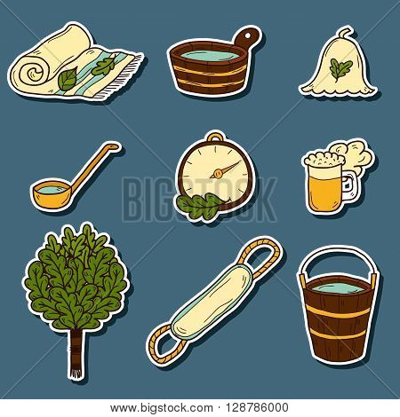 Set of hand drawn cartoon sauna icons: broom towel hat wisp beer steam. Relaxation health care or treatment concept for your design