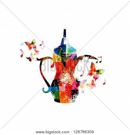 Vector illustration of colorful Arabic coffee pot  with butterflies