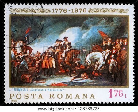 ZAGREB, CROATIA - JULY 18: a stamp printed in the Romania shows The Capture of the Hessians, Painting by John Trumbull, American Bicentennial, circa 1976, on July 18, 2012, Zagreb, Croatia