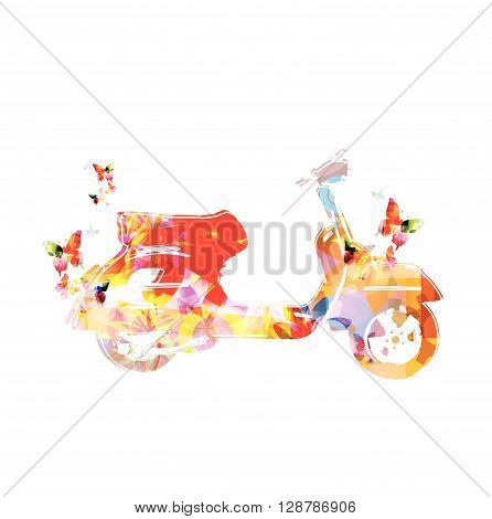 Vector illustration of colorful vespa with butterflies
