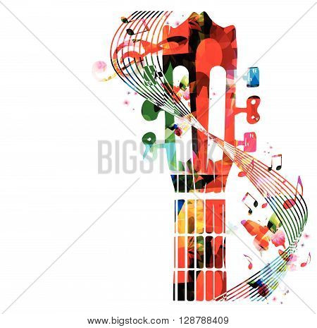 Colorful guitar fretboard with butterflies. Vector illustration
