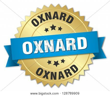 Oxnard round golden badge with blue ribbon