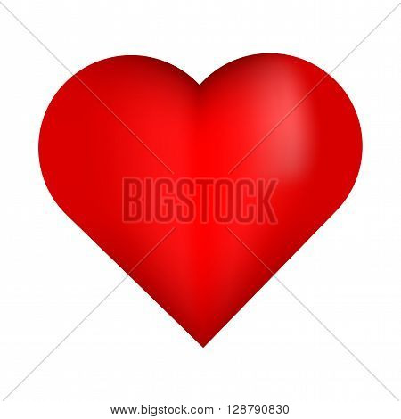 Beautiful red 3D heart. Red heart. Bright red heart. Shiny red heart. 3D red heart isolated on white background. Red heart with white reflection.