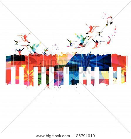 Vector illustration of colorful keyboards with hummingbirds