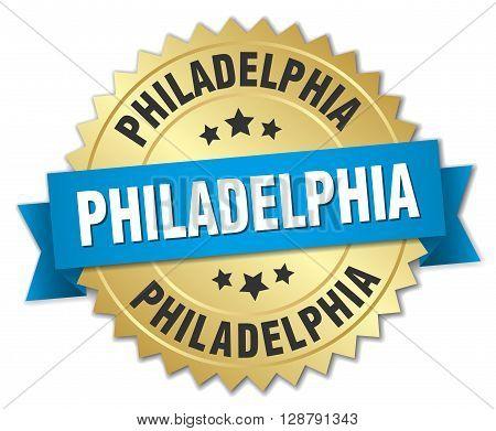 Philadelphia round golden badge with blue ribbon