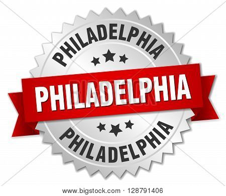 Philadelphia round silver badge with red ribbon