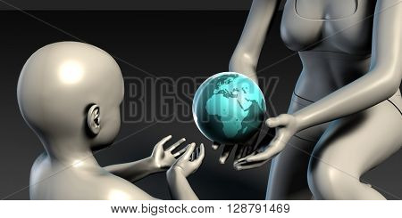 Mother Earth Providing To Her Children as Concept 3D Illustration Render