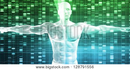 DNA Encoding and Genetic Code as a Science Abstract 3D Illustration Render
