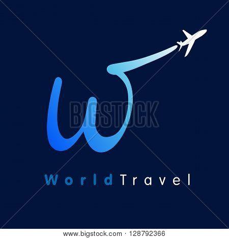 W travel company logo. Airline world travel logo design symbol with capital